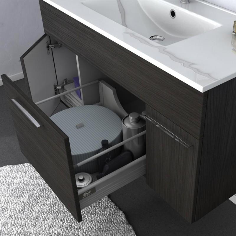 Mobile arredo bagno linea monviso 100 cm grigio scuro venato tekasa - Mobile arredo bagno ...