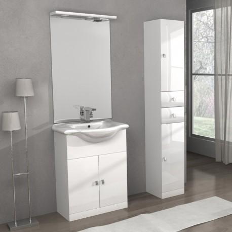 Mobile lavatoio Linea Clara 65 cm e colonna Isa, bianco