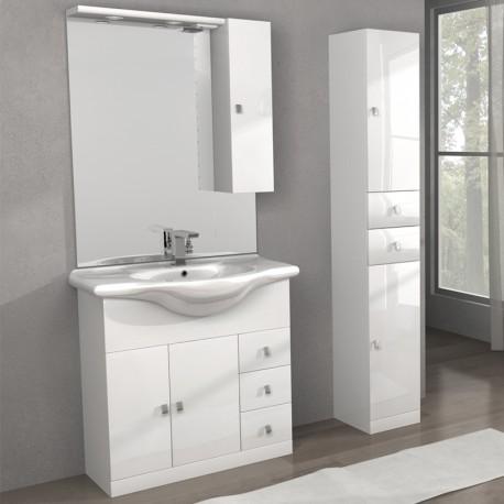 Mobile lavabo linea clara 80 cm e colonna isa bianco tekasa - Mobile colonna bagno ...