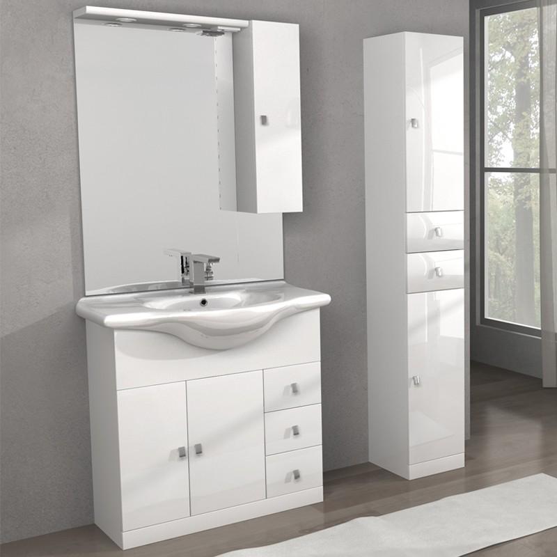 Mobile lavabo linea clara 80 cm e colonna isa bianco tekasa for Mobili bagno 80 cm