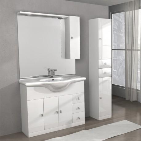 Mobile lavatoio Linea Clara 100 cm e colonna Isa, bianco