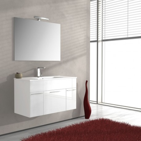 Mobile arredo bagno, Linea Monviso 100 cm, bianco lucido - Tekasa