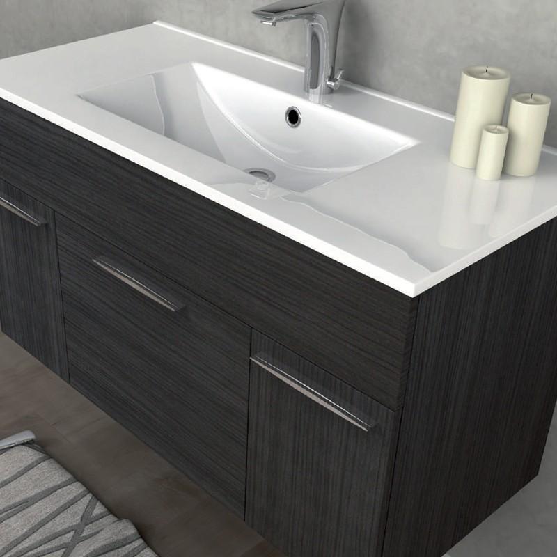 Mobile arredo bagno linea monviso 100 cm grigio scuro venato tekasa - Arredo bagno grigio ...