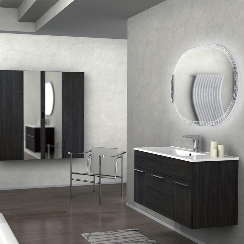 Mobile arredo bagno, linea monviso 100 cm, grigio scuro venato ...