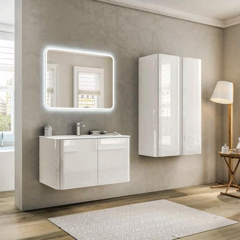Mobile Liverpool 140 cm con doppio lavabo, bianco lucido - Tekasa