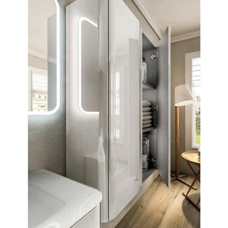 Mobile liverpool 140 cm con doppio lavabo bianco lucido tekasa - Mobile bagno doppio lavabo 140 ...