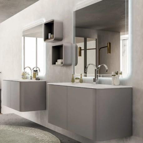 Mobile Liverpool 140 cm con doppio lavabo, bianco lucido