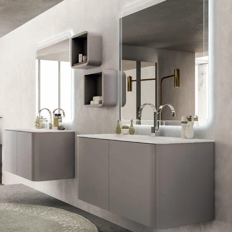 Mobile liverpool 140 cm con doppio lavabo grigio talpa tekasa - Mobile bagno con doppio lavabo ...