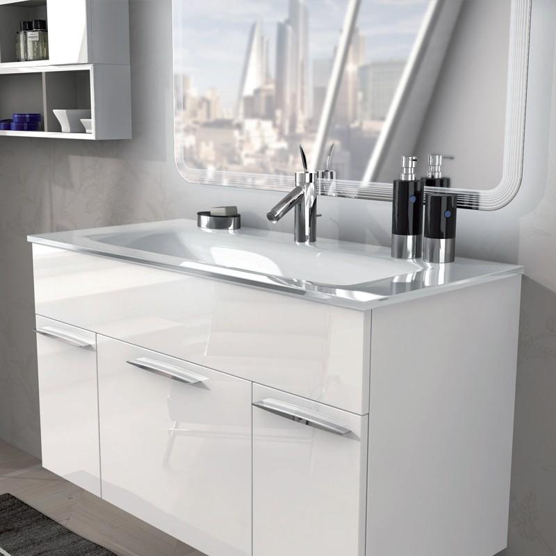 Mobile arredo bagno linea monviso 100 cm bianco lucido for Arredo bagno bianco
